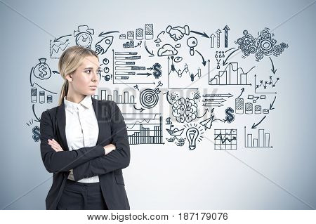 Portrait of a blond businesswoman standing with crossed arms near a gray wall with a business scheme drawn on it