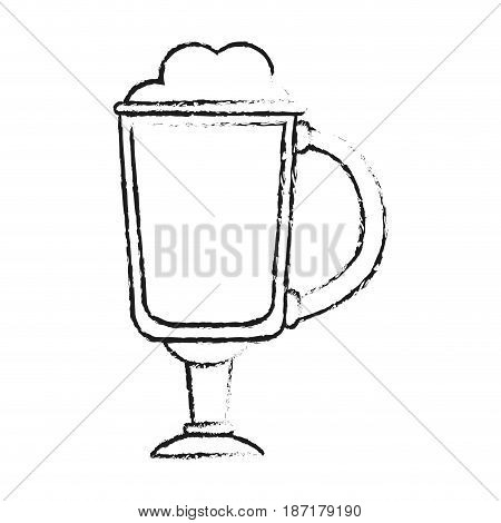 blurred silhouette image cartoon glass cup of cappuccino with foam vector illustration