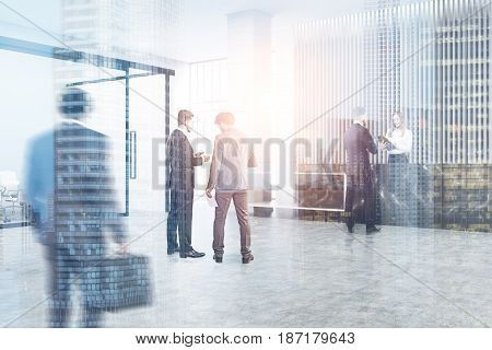 People near a black marble reception counter of original construction standing in an office lobby with a glass wall meeting room. 3d rendering toned image double exposure