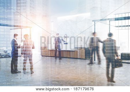 People near a wooden and white reception counter of original construction standing in an office lobby with a glass wall meeting room. 3d rendering toned image double exposure