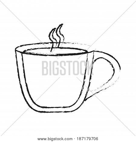 blurred silhouette image cartoon cup of coffee with steam and handle vector illustration
