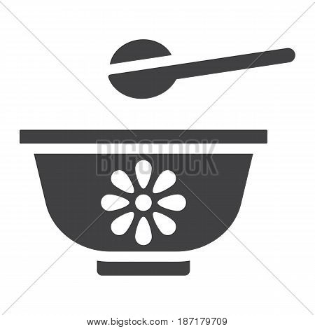 Baby bowl solid icon, baby food and nutrition, vector graphics, a filled pattern on a white background, eps 10.