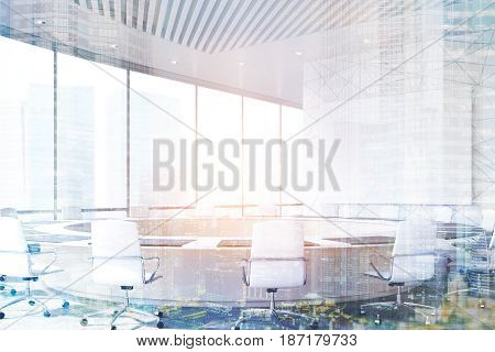 Conference room interior with a round table white office chairs near itm horizontal poster on a marble wall and a panoramic window. 3d rendering toned image double exposure