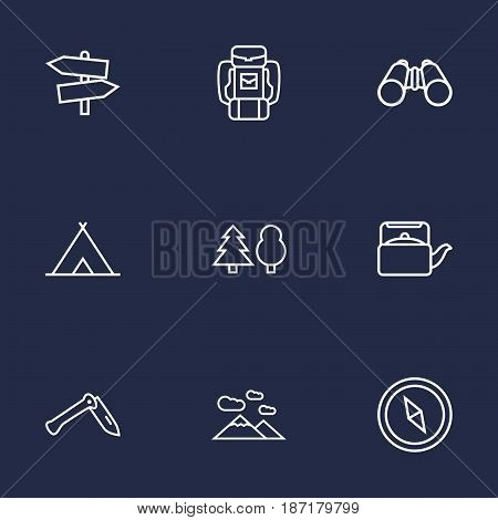 Set Of 9 Adventure Outline Icons Set.Collection Of Forest, Baggage, Penknife And Other Elements.