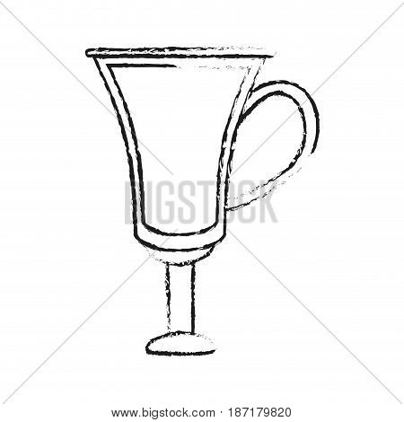 blurred silhouette image cartoon transparent modern glass cup of coffee with handle vector illustration