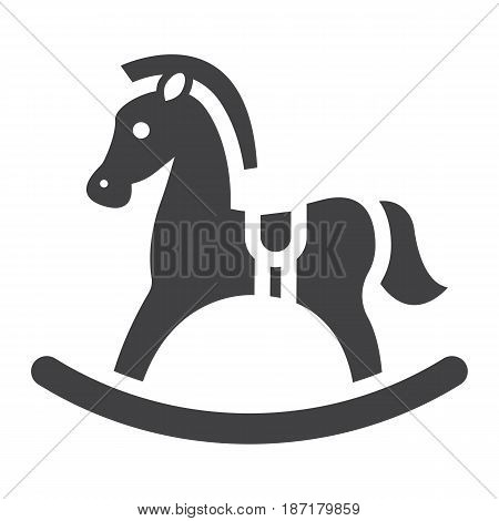 Rocking horse solid icon, wooden toy, vector graphics, a filled pattern on a white background, eps 10.