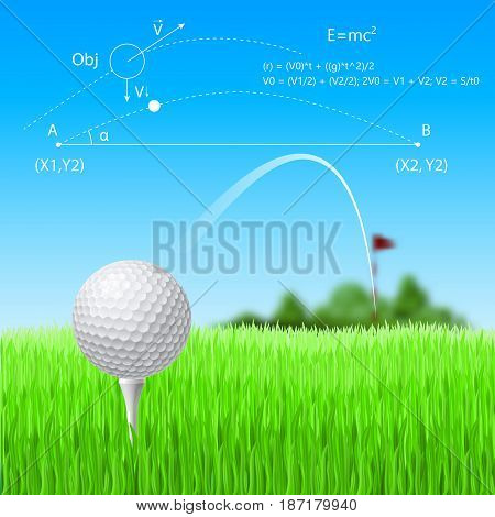 Golf Ball and Red Flag with Golf Course
