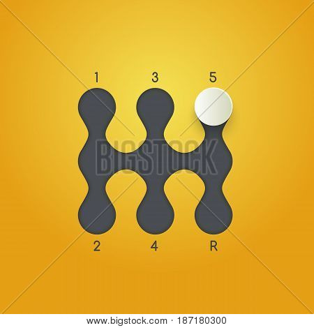 Gearbox isolated minimal icon. Transmission line vector icon and minimalistic flat design on yellow background