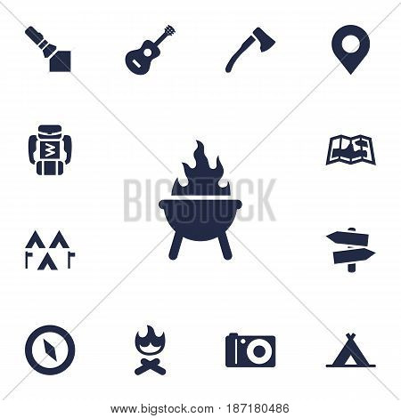 Set Of 13 Camping Icons Set.Collection Of Map, Acoustic, Tent And Other Elements.