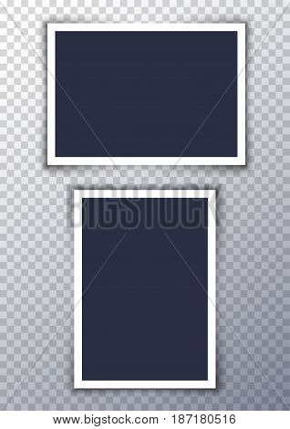 Vector photo frame picture background. Border photography album design. Image element empty retro frame.