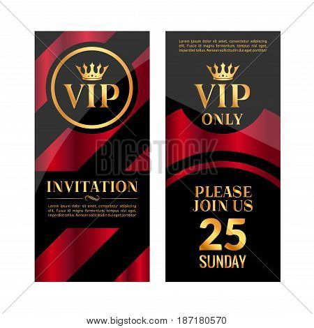 VIP party premium red golden invitation card design. Quilted party banner certificate. Vip club with crown decoration. Elegant premium invitation.