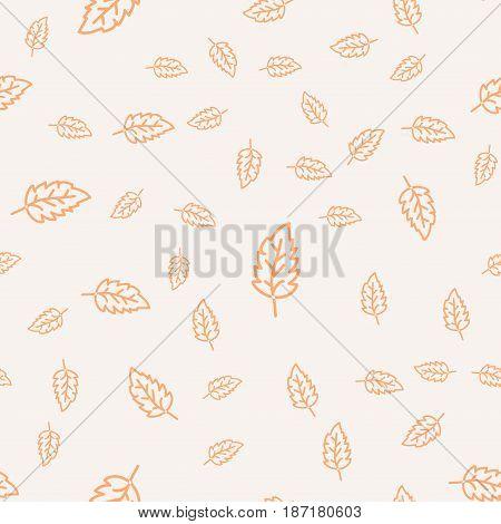 Seamless leaves pattern. Stylized leaf decirative design background. Seamless leaf design.