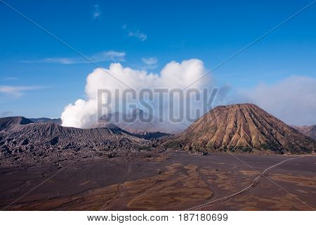 Mount Bromo, An Active Volcano With Clear Blue Sky At The Tengger Semeru National Park In East Java,