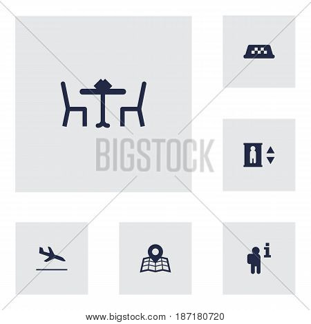 Set Of 6 Aircraft Icons Set.Collection Of Cab, Restaurant, Lift And Other Elements.