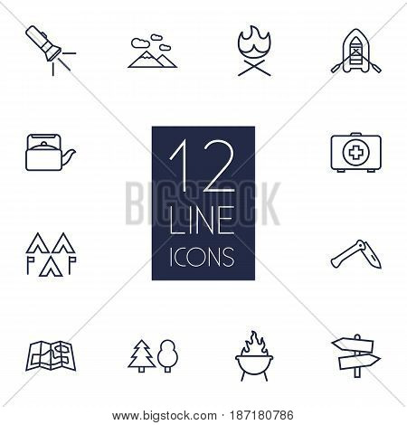 Set Of 12 Camping Outline Icons Set.Collection Of Teapot, Pocket Torch, Encampment And Other Elements.