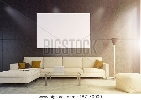 Living room interior with a beige sofa cushions on it a small coffee table with a laptop on it and a horizontal poster. 3d rendering toned image mock up