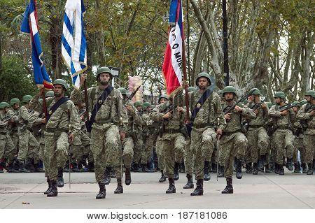 CANELONES, URUGUAY - MAY 18, 2017: Military parade of the army of Uruguay commemorating the 206 anniversary of the Batalla de Las Piedras