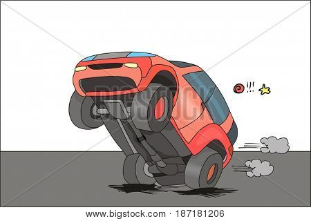 Skillful Driver driving his car on two wheels showing his lifestyle character personality wrong behavior concept can be used for traffic education cartoon caricature funny comic