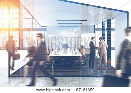 Business people are passing by a conference room in an open office with large windows. 3d rendering toned image double exposure