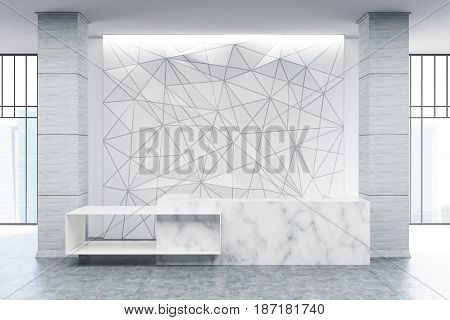 White marble reception counter of an original construction is standing near a white wall with a geometric pattern on it. 3d rendering