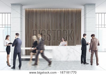 Business people are passing by a white marble reception counter of an original construction is standing near a wall with wooden vertical blinds. 3d rendering
