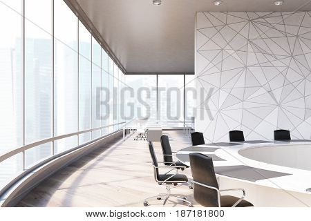 Side view of a conference room interior with a round table black office chairs near it a marble wall and a panoramic window. 3d rendering mock up