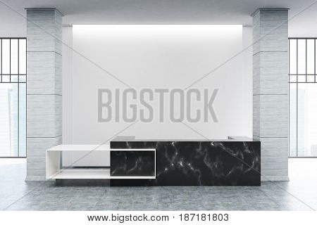 Black marble reception counter of an original construction is standing near a blank white wall in an office hall. 3d rendering mock up