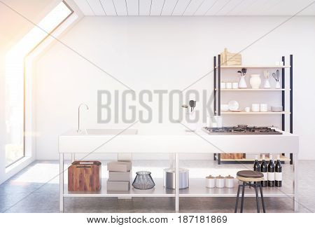 Interior of an attic kitchen with white walls a cooker a sink and a cupboard with dishes and cutting boards. 3d rendering mock up toned image