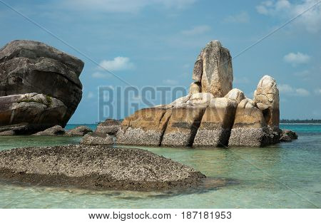 Natural Coast Rock Formation In Sea At Belitung Island In The Afternoon, Indonesia.