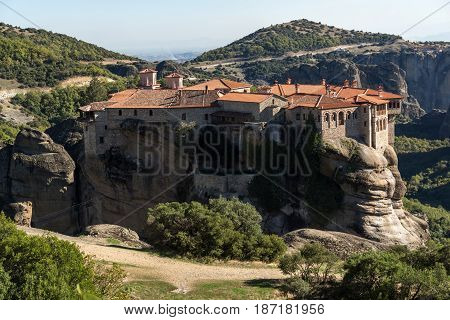 Amazing view of Holy Monastery of Varlaam in Meteora, Thessaly, Greece