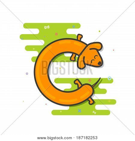 Cute Basset hound runs around itself in a contour-style line art. Vector illustration of a dog for decoration, logo, design, flyer, catalog, pet stores, veterinary clinics. Animal logo letter C