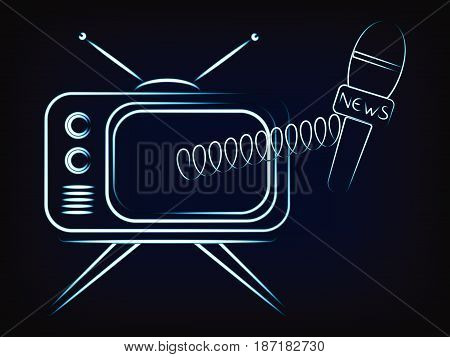 Watching Tv With News Microphone Popping Out Of The Screen
