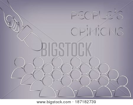 microphone pointed at a group of people from above, concept of analysing people's opinions or asking for feedback