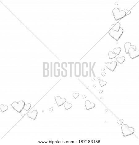 Beautiful Paper Hearts. Abstract Crescents On White Background. Vector Illustration.
