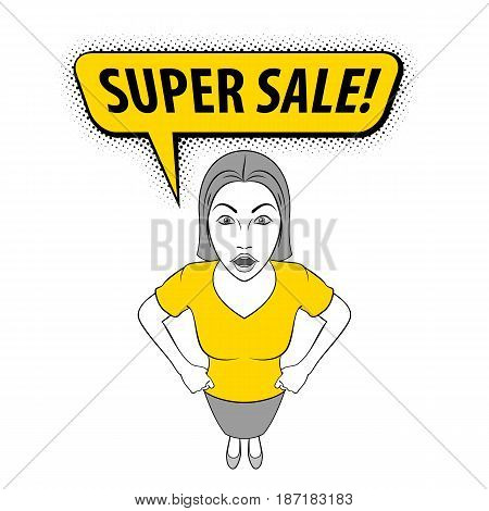 Cartoon Illustration of a Young Woman with Her Hands Akimbo. Super Sale