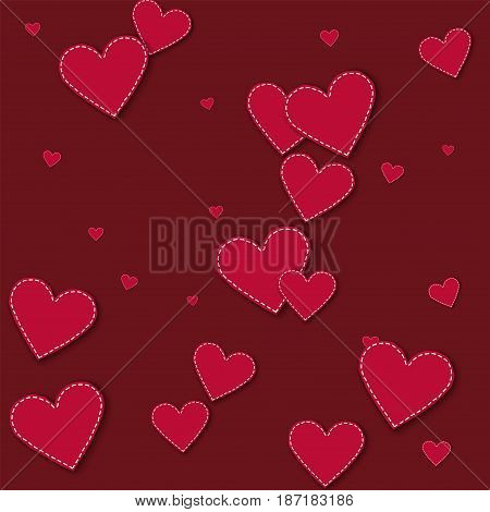 Red Stitched Paper Hearts. Scatter Vertical Lines On Wine Red Background. Vector Illustration.
