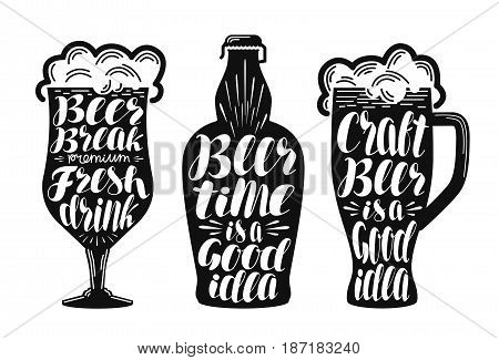 Beer, ale, lager label set. Alcoholic beverage, drink, pub symbol or icon. Lettering, calligraphy vector illustration isolated on white background