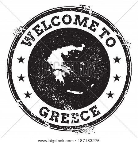 Vintage Passport Welcome Stamp With Greece Map. Grunge Rubber Stamp With Welcome To Greece Text, Vec
