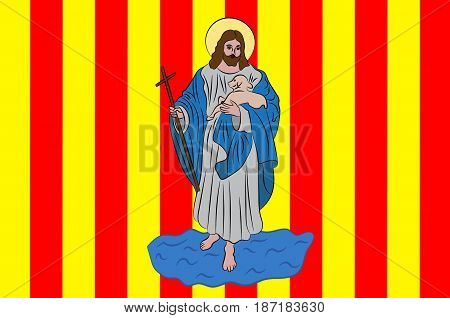 Flag of Perpignan is a city a commune and the capital of the Pyrenees-Orientales department in southern France. 3d illustration