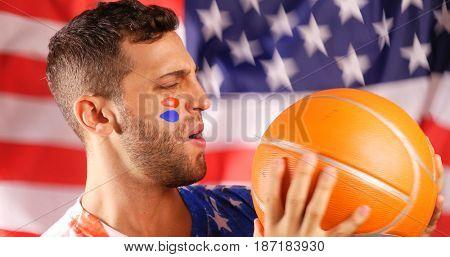 American Guy Cheering Basketball