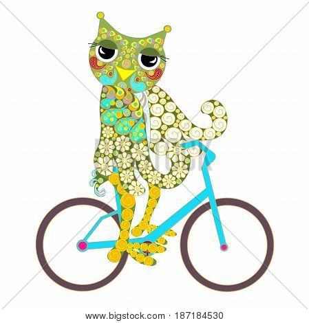 Hand drawn ornamental colorful owl on bacicle for print, stock vector illustration