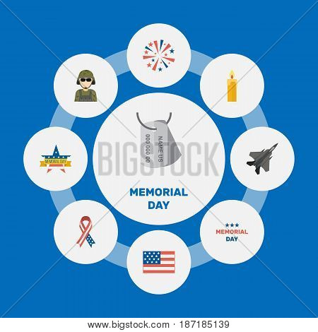 Flat Firecracker, Aircraft, Holiday And Other Vector Elements. Set Of Memorial Flat Symbols Also Includes Fighter, Day, American Objects.