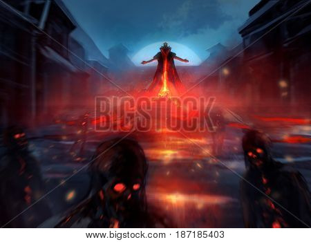 Illustration of a demon lord summoning evil zombie forces with fire effects and blurry mist.