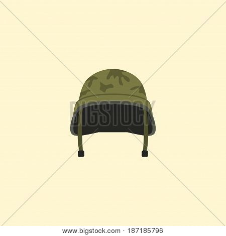 Flat Headgear Element. Vector Illustration Of Flat Soldier Helmet Isolated On Clean Background. Can Be Used As Soldier, Helmet And Headgear Symbols.