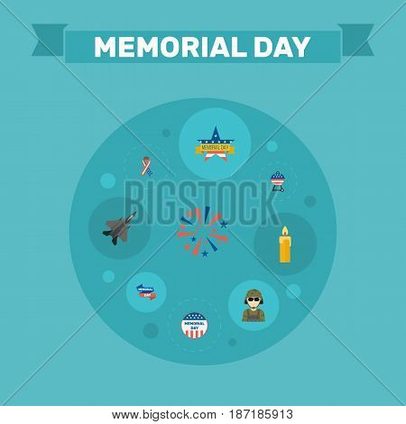 Flat Memorial Day, Firecracker, Aircraft And Other Vector Elements. Set Of Memorial Flat Symbols Also Includes Wax, Firecracker, Brazier Objects.