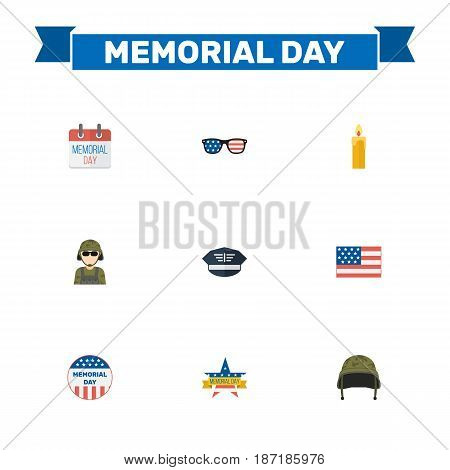 Flat Soldier Helmet, Spectacles, American Banner And Other Vector Elements. Set Of Day Flat Symbols Also Includes Man, Military, Memorial Objects.