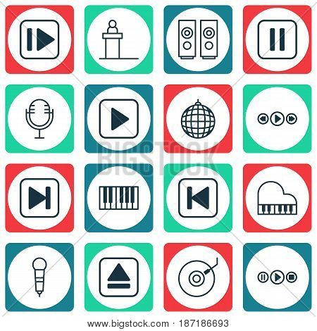 Set Of 16 Music Icons. Includes Microphone, Piano, Sound Box And Other Symbols. Beautiful Design Elements.