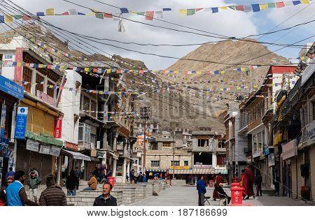 Leh India - April 262017 : Leh city walking street view with many shop. Main Bazaar in Leh Ladakh Jammu India