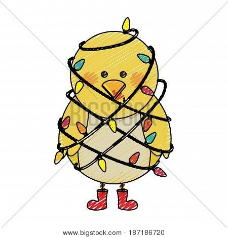 color crayon stripe cartoon of chicken with boots and involved in cord lights christmas vector illustration