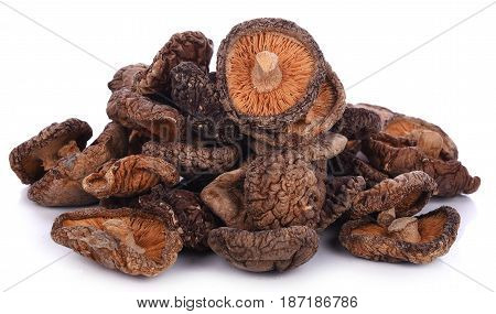 dried shiitake mushrooms isolated on a white background